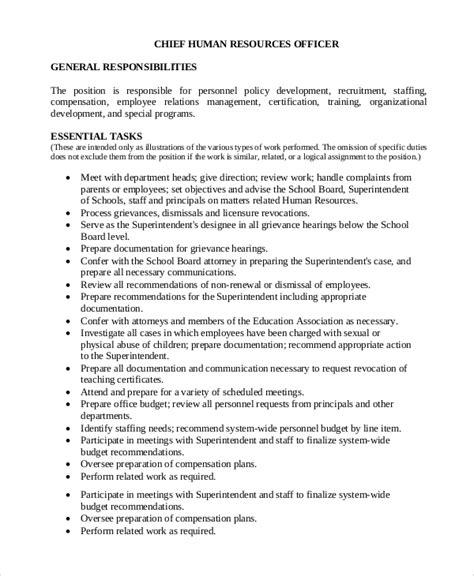Human Resources Description Duties by Sle Human Resources Description 7 Exles In Pdf