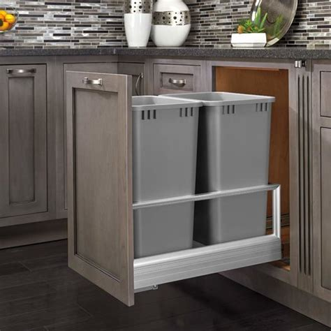 kitchen cabinet trash pull out rev a shelf trash pullout 50 quart silver 5149 7966