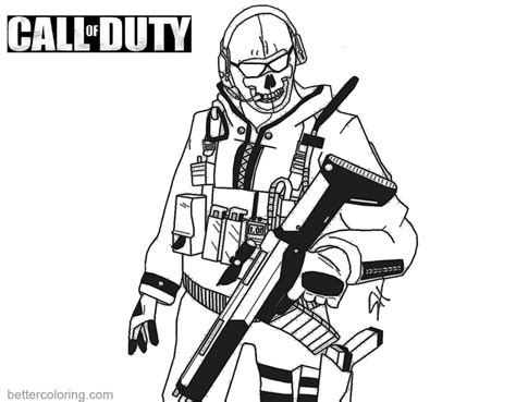 call color call of duty coloring pages ghost free printable