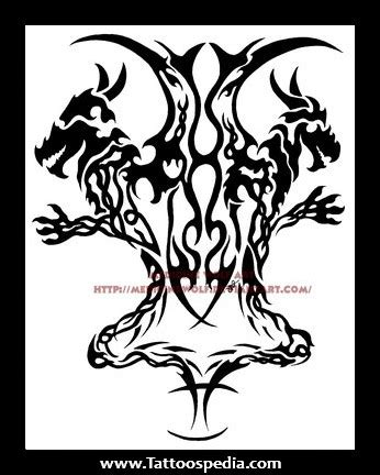 simple black ink tribal gemini tattoo design