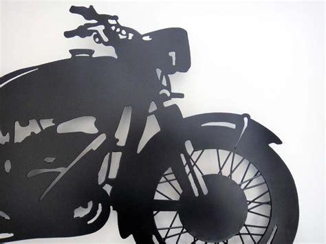 Contemporary Metal Wall Art Motorbike Black Silhouette