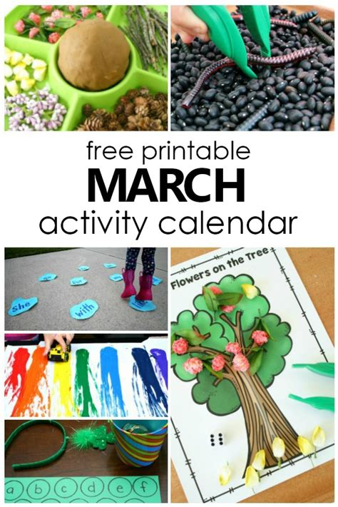 march preschool activities and things to do with 145 | Free Printable Match Activity Calendar for Kids. Fun Things to Do with Kids in March. Preschool Activities for March