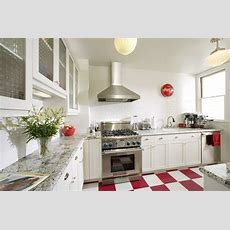 Beautiful White Kitchen With Red & White Floors Plus Red