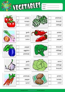 vegetables esl multiple choice worksheet  kids