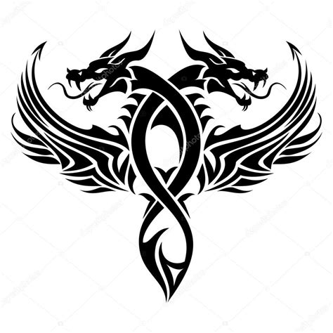 tribal dragon tattoo stock vector  surovtseva