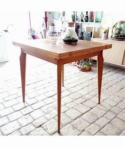 Table Carrée Extensible : brocante vintage table carr e extensible pieds compas ~ Teatrodelosmanantiales.com Idées de Décoration