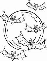 Bats Coloring Halloween Printable Moon sketch template