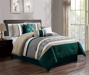 7, Piece, Luxury, Embroidery, Bed, In, Bag, Microfiber, Comforter