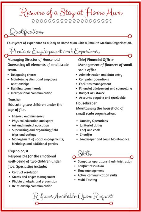 How To Write A Resume For A Stay At Home Going Back To Work by 17 Best Ideas About Sle Of Resume On