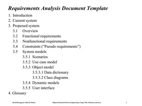 requirements analysis document template powerpoint