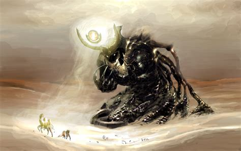 creature giant fantasy art demon desert wallpapers hd