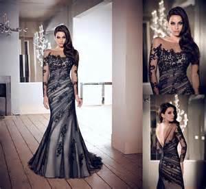 black sleeve wedding dresses black lace custom wedding gown sleeve mermaid prom evening dress 2052629 weddbook