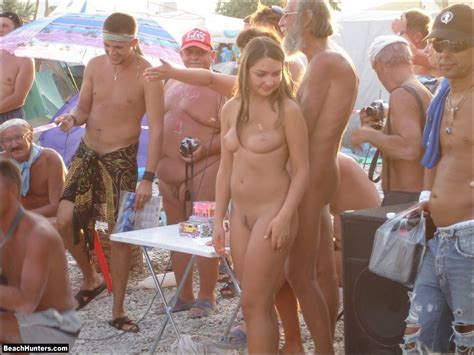Nude On The Beach In A Crowd Nudeshots