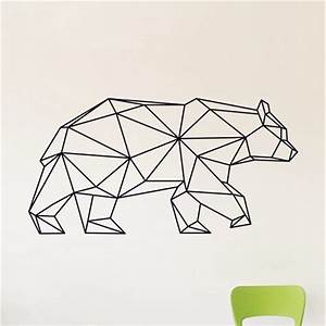 Geometric Bear Wall Decal , Bear Vinyl Wall Stickers
