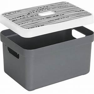 Boite De Rangement : boite de rangement avec couvercle motif lignes sigma home box 13 l gris ~ Teatrodelosmanantiales.com Idées de Décoration