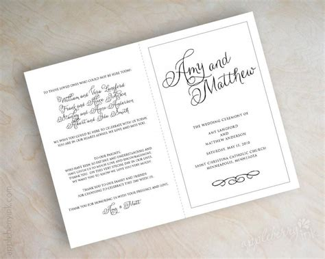 Mass Booklet Templates by Simple Plain Black And White Script Name Bi Fold