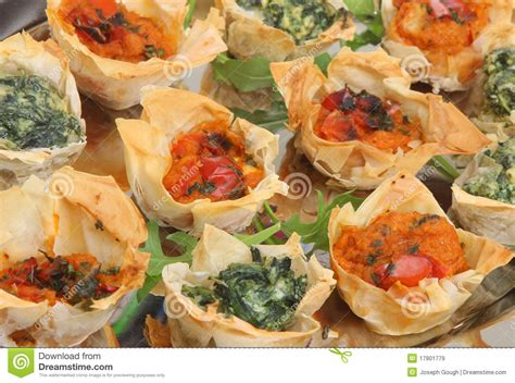 mediterranean filo pastry canapes royalty free stock