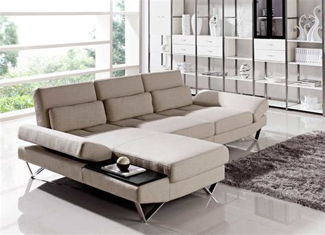 end tables for sectionals soft fabric sectional sofa with built in end table vg208