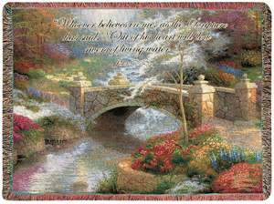 bridge of hope tapestry afghan throw w verse thomas kinkade afghans throws quilts