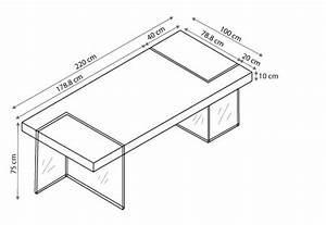 table rectangulaire avec pied en verre crystalline With hauteur de table a manger