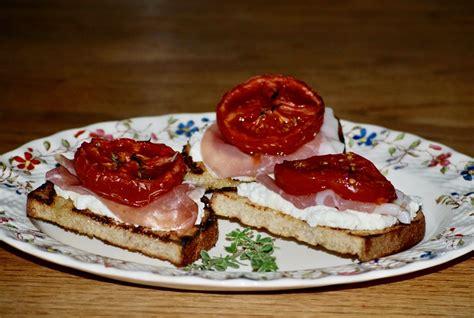 Slow Roasted Tomato Ricotta and Prosciutto Bruschetta
