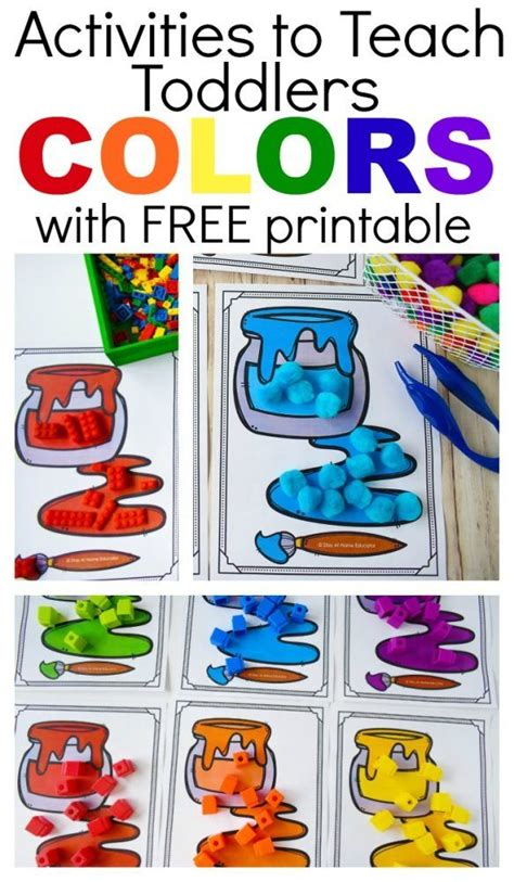 6 Ways to Teach Colors to Toddlers with Free Printable