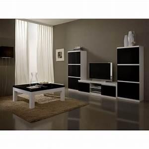 Meuble Tv Noir Laqué : meuble tv design laqu blanc et noir loana matelpro ~ Nature-et-papiers.com Idées de Décoration