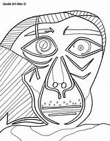 Coloring Picasso Famous Dali Salvador Pablo Artist Portrait Self Doodle Paintings Template Printable Boyama ピカソ Sketch Picasso1 Doodles Alley Getcolorings sketch template