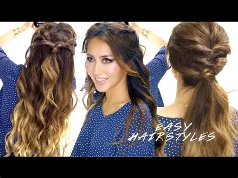 super easy school hairstyles braided   cute ponytail hairstyle youtube