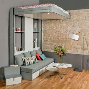 lit avec bureau coulissant lits escamotables et lits mezzanines meubles gain de
