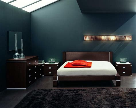 Stunning Mens Bedroom Ideas Also Wooden Modern Bed Frame Design Also Dark Teal Wall Color And