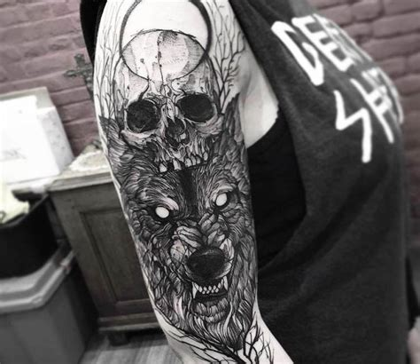 Skull And Wolf Tattoo By Fredao Oliveira Tatoos