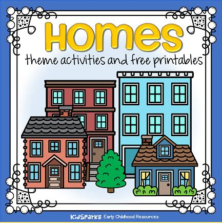 homes theme activities and printables for preschool and 552 | homes page topper small orig