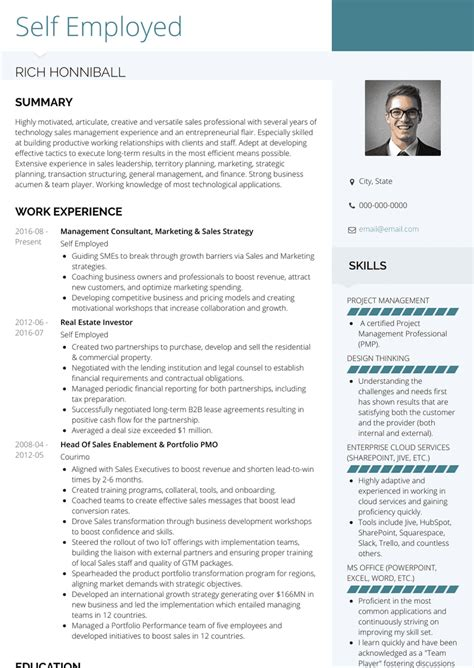 Use these resumes as templates to get help creating the best plasterer resume. Self Employed - Resume Samples and Templates | VisualCV