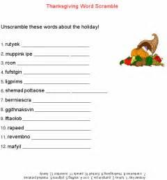 printable thanksgiving word scramble