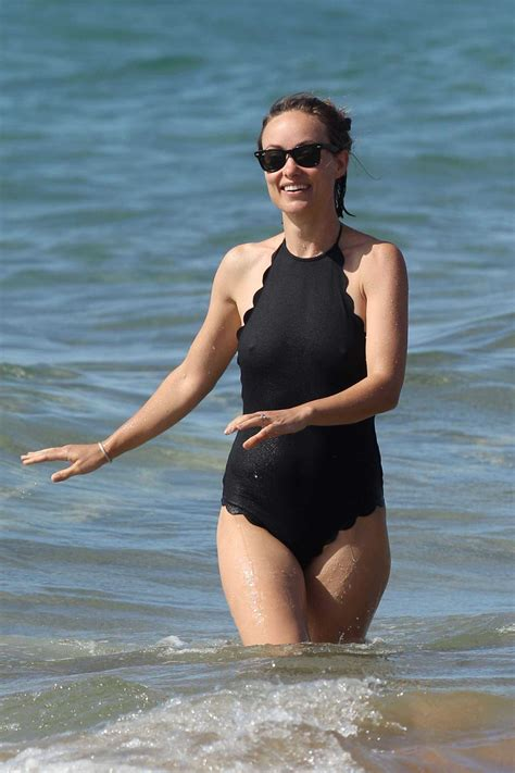 olivia wilde  black swimsuit  sawfirst hot