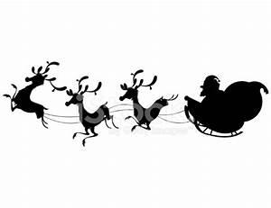 Reindeer Silhouette And Santa Claus Christmas Stock Photos