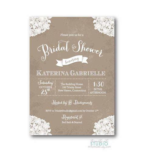 vintage lace rustic bridal shower invitation shabby chic