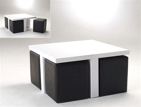 Tisch Mit Hocker by Couchtisch 80x46x80 Hochglanz Wei 223 Mit 4 Hocker Kunstleder