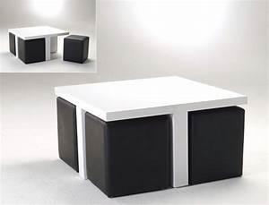 Couchtisch 80x46x80 hochglanz wei mit 4 hocker kunstleder for Tisch mit hocker