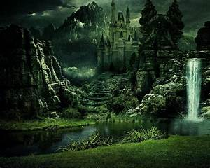 Fantasy, Castle, With, Waterfall, Hd, Wallpaper