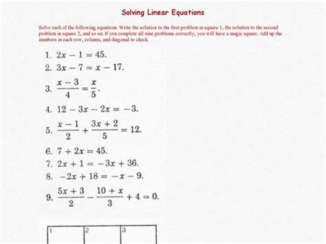 solving linear equations worksheet 1 answers tessshebaylo