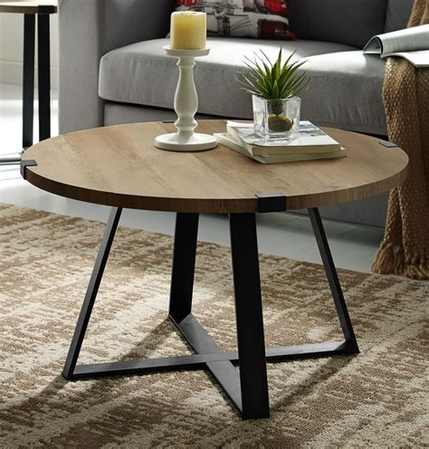 """Shop with afterpay on eligible items. 30"""" Rustic Urban Industrial Wood & Metal Wrap Round Coffee ..."""