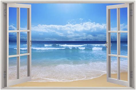 3d Window Ocean View Blue Sea Home Decor Wall Sticker: Huge 3D Window View Exotic Beach Wall Sticker Film Mural