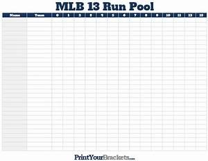 13 Run Baseball Pool Printable MLB Office Pool