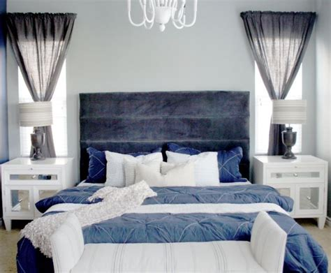 Navy Blue And Gray Master Bedroom Remodel
