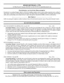 resume sle for account manager resume format exle accounting manager resume