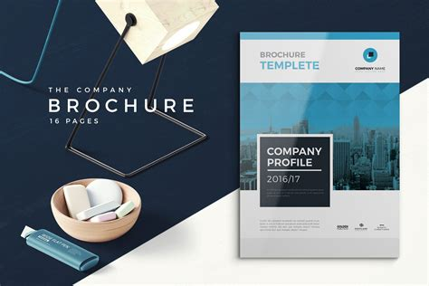 blue company profile  pages brochure templates