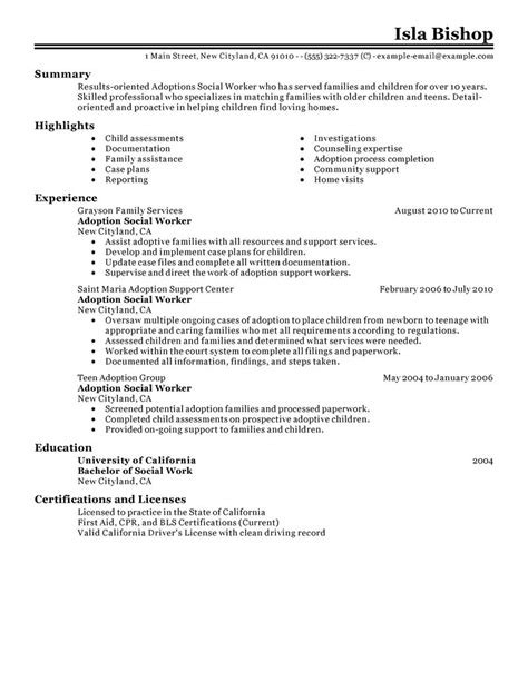 adoptions social worker resume exles social services