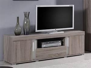 Meuble Tv Hifi : meuble tv hifi couleur chne taupe et blanc contemporain camelle ~ Teatrodelosmanantiales.com Idées de Décoration